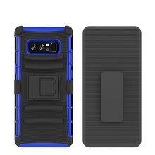 New Fashion 5 colors Wholesale TPU+PC case for samsung galaxy note 8 Shockproof 3 in 1 Armor Hard Kickstand cover