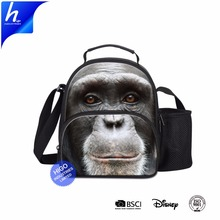 2018 Innovation 3D Orangutan Printing Bento Lunch Bag With Mesh Water Pocket