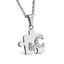 239N Stainless Steel Puzzle Jigsaw Male and Female Symbol Couple Pendant Necklace For Lover's Birthday Gift