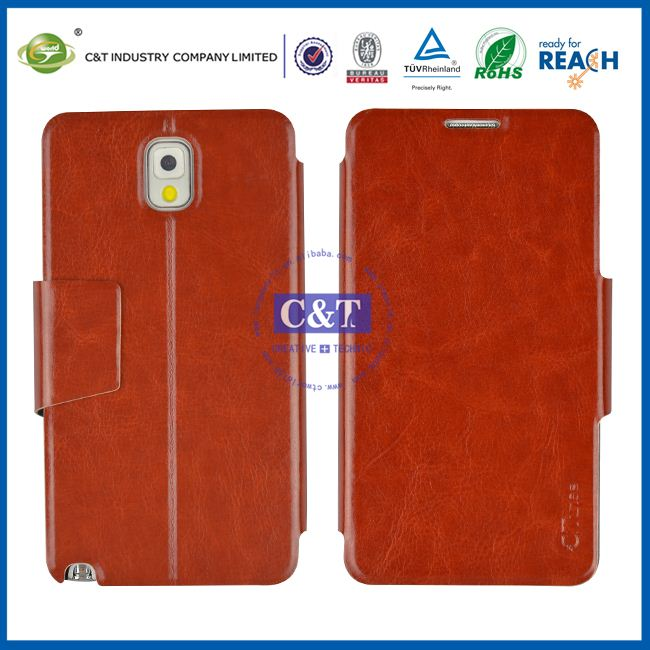 C&T STAND Leather flip case for note3 samsung cell phones in china