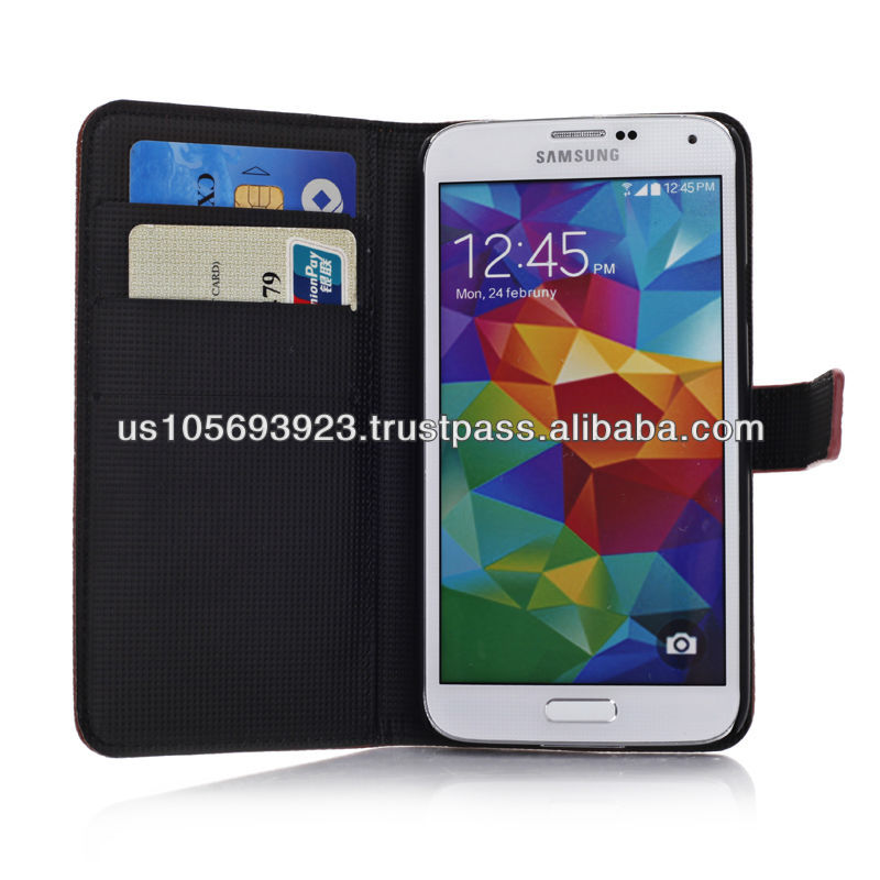 Flip Credit Card Leather Phone Case For SUMSUNG S5 with 5 Colors