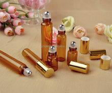 Essential oil/perfume use roll on bottle glass roller bottle with stainless steel ball