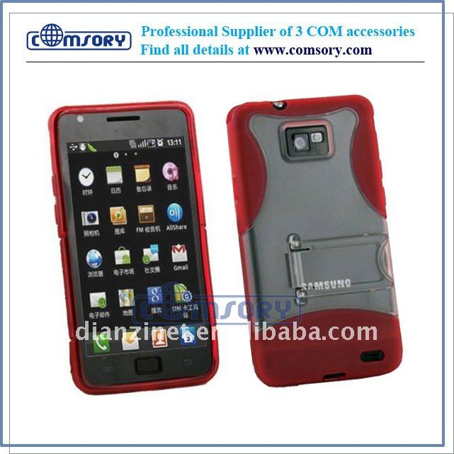 Anti-Slip Grip WITH STAND TPU + PC case / cover / protector for samsung Galaxy S2 / I9100