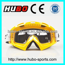 High quality yellow frame UV400 motorcycle motocross goggle