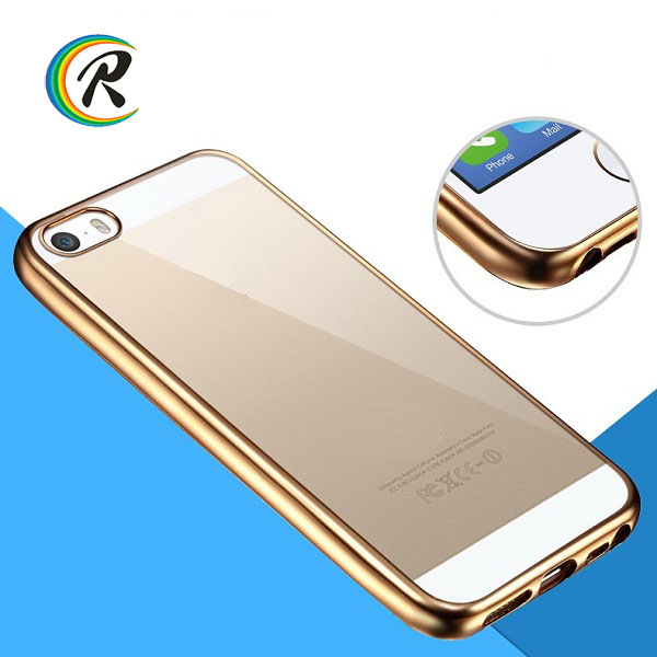 Luxury Silicon for iphone 5 charger case for iPhone 5S plating bumper tpu soft transparent case