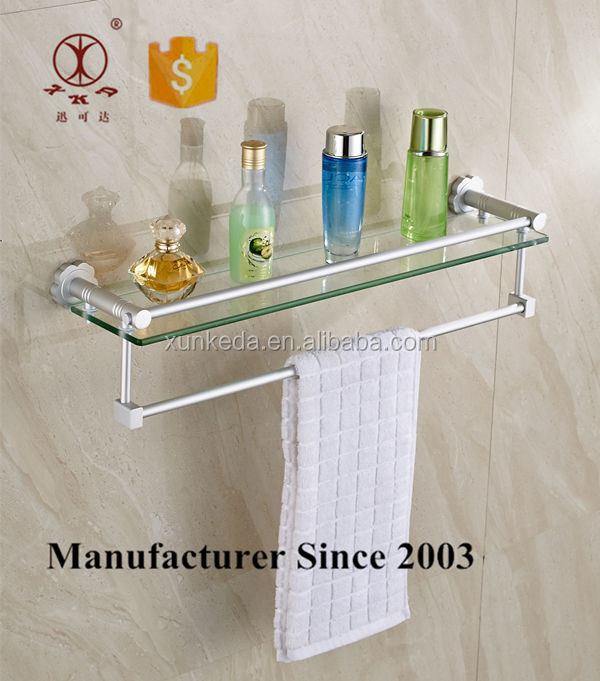 Unique Bathroom Glass Shelf With Towel Bar