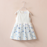 Cute Two Colors Printing Flowers Cotton Beautiful Children Dress