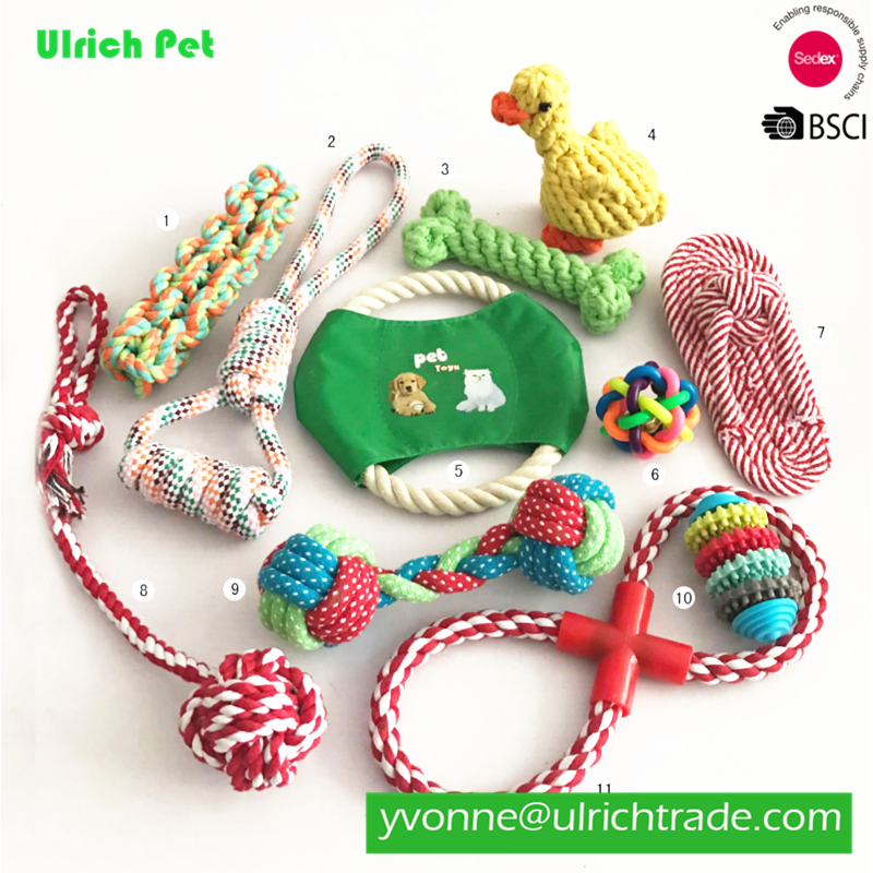 WK101 Cotton Rope Dog Toy set 10 Pack, Ball Rope and Chew Toys