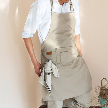 Unisex apron multi-pocket with do housework aprons restaurant uniform apron