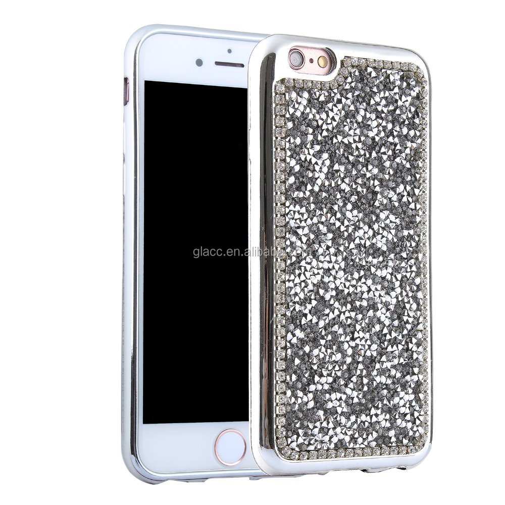 Luxury Bling Diamond Crystal Star Electroplated PC Bumper Frame Phone Covers Case for Iphone 5/5s/6/6s