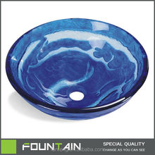 Tempered Glass Round Blue Changing Bathroom Sink