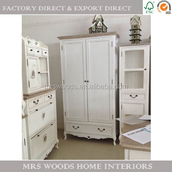 MW Home french shabby chic country furniture closet pine wood white 2 doors 2 drawers bedroom wardrobe cabinet