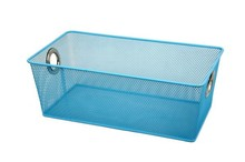 Metal Mesh Hand Sundry Storage Basket/Blue Storage Bins with Eyelets