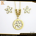 Modern zircon necklace design polygon pattern pendant jewelry set for women