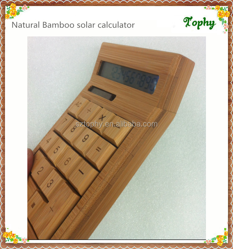unique 12 digital dual power bamboo calculator, natural bamboo material luxury gift