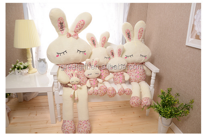 wholesale textile cloth floral <strong>rabbit</strong> novelty funny doll supper soft plush bunny dolls funny cute romantic kids party gift