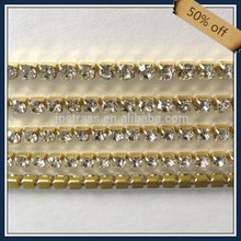 ss16 4mm silver/gold metal base cup chain crystal rhinestones for leotard