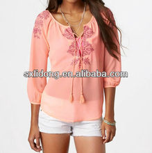 2013 sexy women sheer chiffon blouse new designs