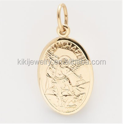Alibaba wholesale alloy gold plated St. Michael charm patron saint charm
