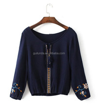 High quality fashion women all-match embroidery casual rayon blouses