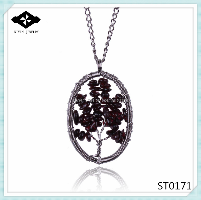 ST0171 Handmade Oval Pendant Necklace With Natural Stone Stock Sale alibaba express.jpg