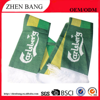 Promotional good quality custome made football knit fan scarf