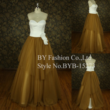2016 girl dresses tulle satin ball gown champagne colored wedding dresses