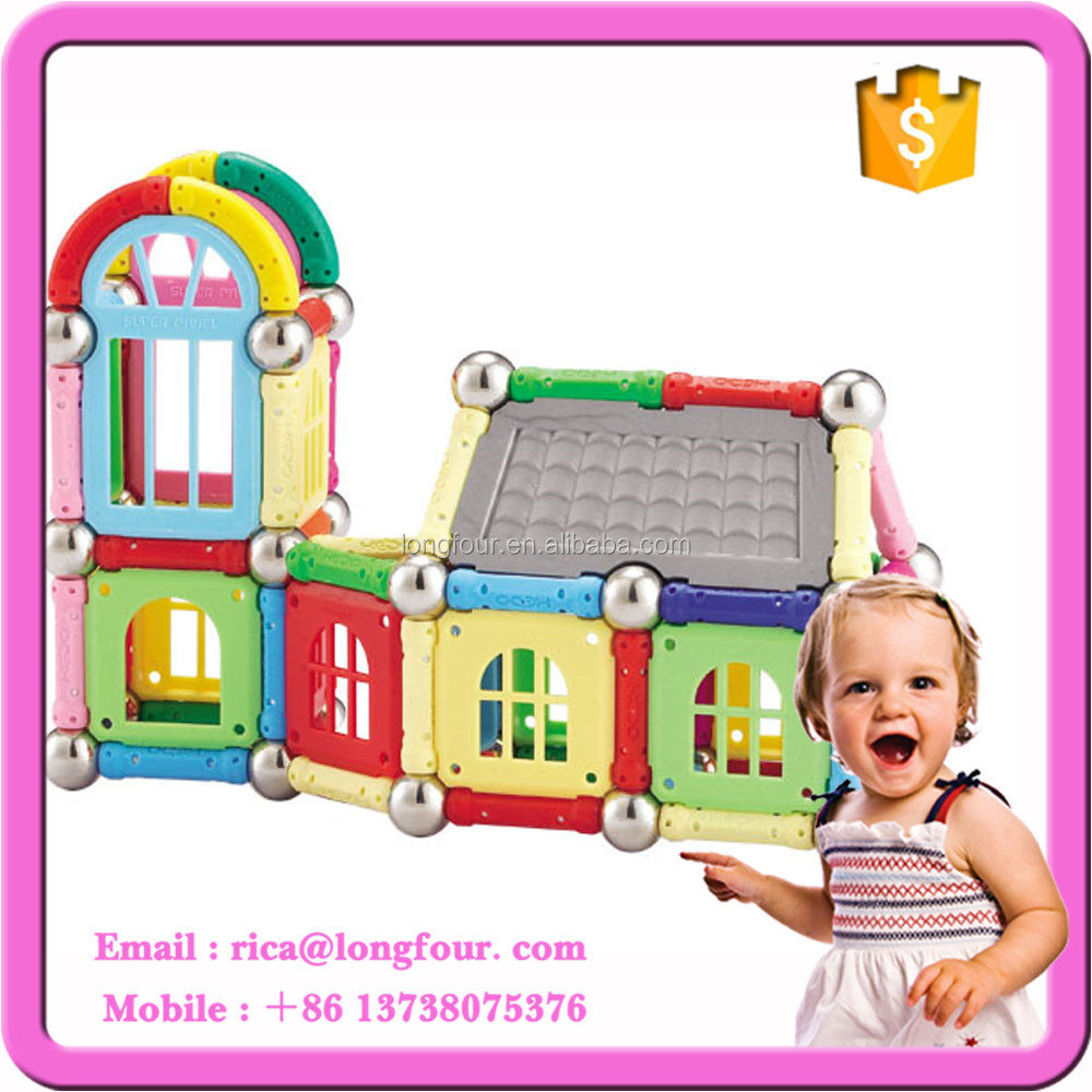 Magnetic Sticks and Balls Toys with castle blocks for kids