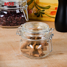 Container glass spice garden jar with clamp lid