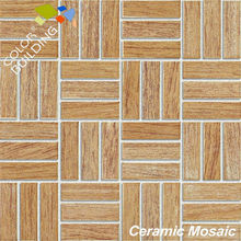 Wood effect ceramic mosaic 23x73mm net mounted mosaic