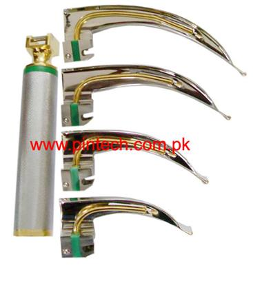Medical DIagnsotic Laryngoscope Gold Plated Handle and Blades