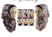 Printed Floral Two Face Loops Cotton Jersey Instant Shawls 2 Slips Muslim Hijab Scarf QK024