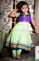 Ready to wear Violet Brocade and Pastel Green Anarkali With Embroidery And Churidar and Dupatta