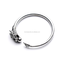 wholesale 925 sterling silver dragon head animal bracelet bangle for biker men punk style thai silver dragon bangle for boys