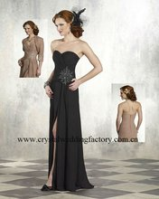 2012 sweetheart ruched appliqued beaded black chiffon floor length with jacket mother of the bride dresses CWFam3823
