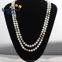 10mm multi color round nice quelity long 47 inches cheap fake shell pearl necklace