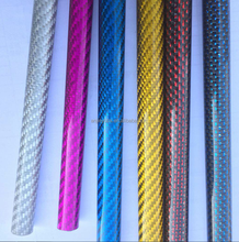 Custom red color carbon fiber tube, pink yellow blue silver 3k carbon fiber tube