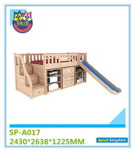 Bedroom furniture set kids cheap wooden bunk beds with slide for sale#SP-A017