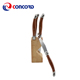 Popular Wooden block 6pcs stainless steel laguiole steak knives with pakka wood printing handle in wooden block