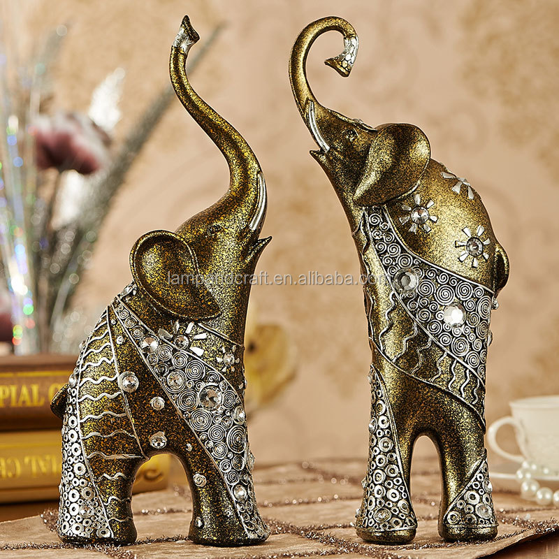New Products Lucky Elephant Statue Resin Home Decor With Bronze Tabletop Folk Art Craft