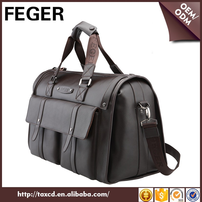 Brand Genuine Leather Brown Travel Business Men Durable Weekend Bags