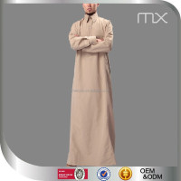 Designer Polo Style Jubbah Kaftan Arab Muslim Al Haramain Thawb High Quality Twill Fabric Men Robe