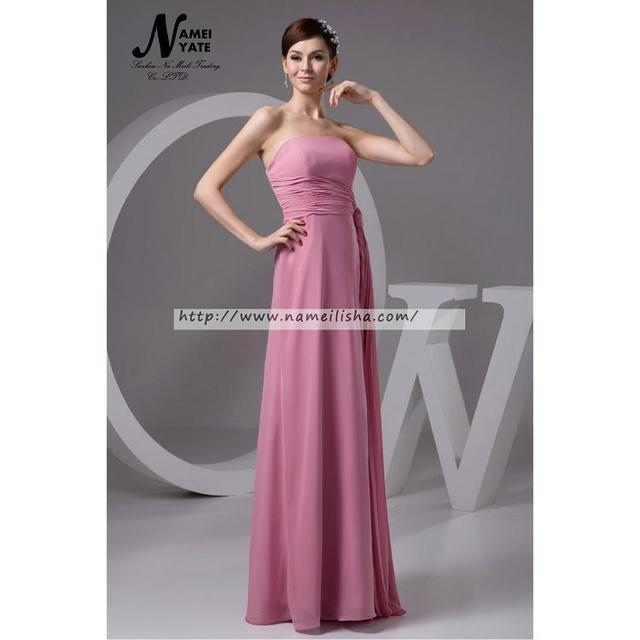 Hot Sale Watermelon A Line Strapless Zipper Floor Length Sleeveless Ruffle Bridesmaid Dresses Long Marton of Honor Dress