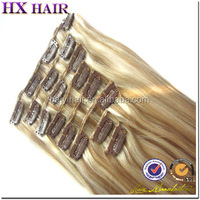 Thick Bottom Grade 7a brazilian unprocessed clip in human hair extensions brown blonde mix
