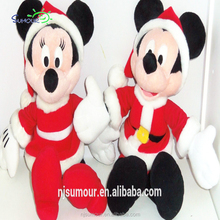 Mickey Minnie Mouse Plush Santa Suit Rattle Christmas Baby Toy Stuffed