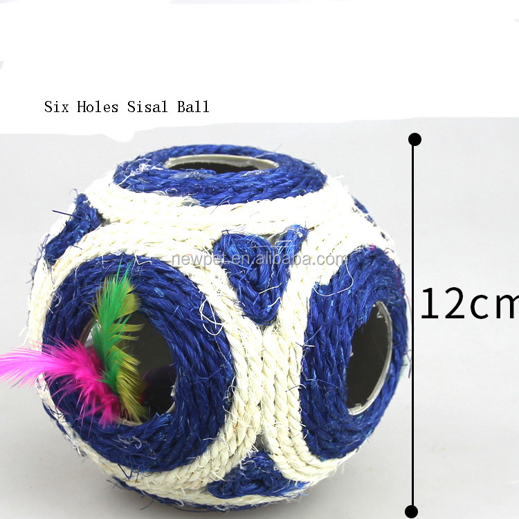 Premium quality elegantly designed six holes sisal ball bird cat toy
