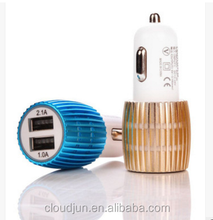 Metal Aluminum 2.1A Dual USB Car charger,Mini Bullet USB Car Charger For Mobile Phone