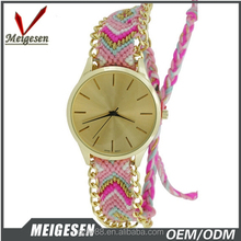 Ribbon watch interchangeable straps , latest lady weave band wrist watches