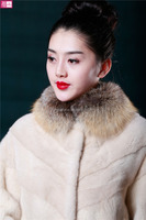 Woman Winter Fashionable Genuine Mink Fur Coat Korea Style