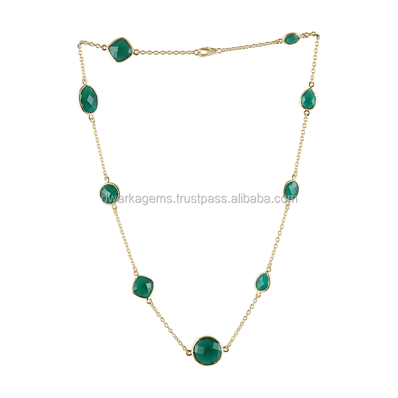Wholesale jewelry from india green onyx necklace gemstone jewelry necklace